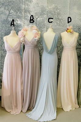 Lovely Light Colors Chiffon Bridesmaid Dresses Different Styles  Wedding Party Dress_1