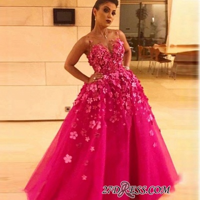 Fuchsia A-line Evening dresses | Sleeveless Prom Dress with Flower_2