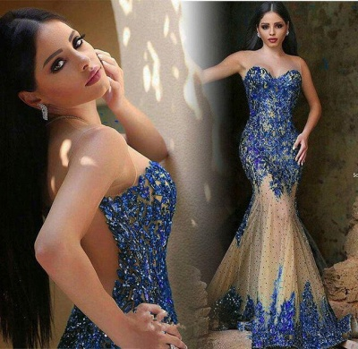 Sparkly Beads Sequins Mermaid Prom Dress Sheer Tulle Prom Gowns BA6145_4