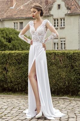 Most Popular Lace Chiffon Bridal Dress Appliques Side Slit Long Sleeve Sweep Train  Wedding Dress_6