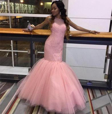 Pink Mermaid Tulle Prom Dresses Sleeveless Halter Evening Dresses_4
