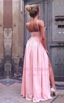 Simple Pink V-Neck A-Line Prom Dresses   Side-Slit Spaghetti-Straps Evening Dresses CD0082_3