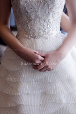 Chiffon Neck Bridal Dresses Crystal Beading Tiered Sleeveless Ruched Chapel Train Ball Gown Wedding Gowns_7
