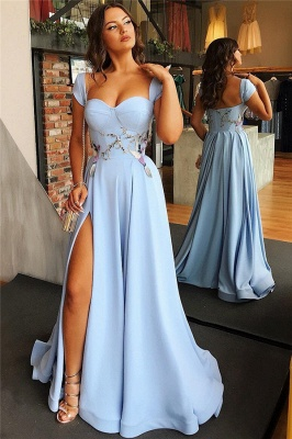 Cap Sleeves Open Back Blue Formal Evening Dress 2019 | Sexy Side Slit Appliques Prom Dresses Cheap bc1747_3