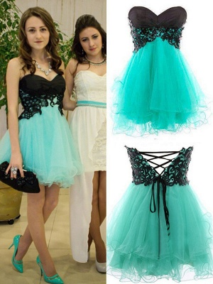 Black and Green Sweetheart Organza  Homecoming Dress with Lace Up New Bridesmaid Dress BA5079_1