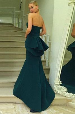 Dark Green Mermaid Strapless Evening Dresses | Ruffles Open Back Prom Dresses_3