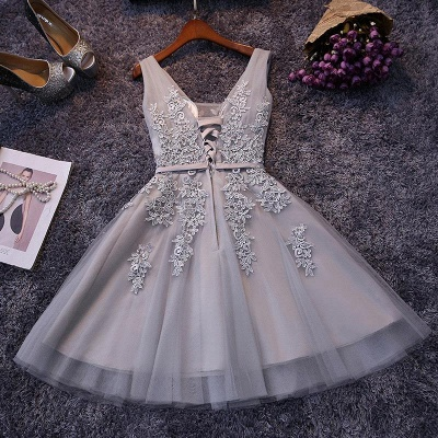 Sliver Grey  V-neck Mini Homecoming Dresses  Lace Appliques Tulle Party Dress_11
