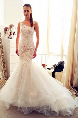 Sleevelss Sheath Mermaid Wedding Dresses Lace  Tulle Long Bridal Gowns_1