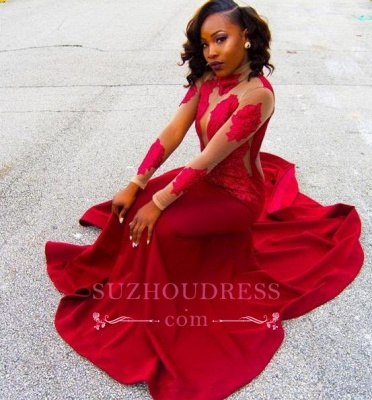 Appliques Lace High-Neck Long-Sleeve Red Sheath Poprlar Prom Dress_1