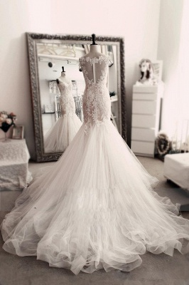 Sleevelss Sheath Mermaid Wedding Dresses Lace  Tulle Long Bridal Gowns_3