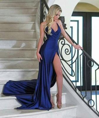 Royal Blue Sheath V-Neck Evening Dresses | Side Slit Simple Formal Dresses_3