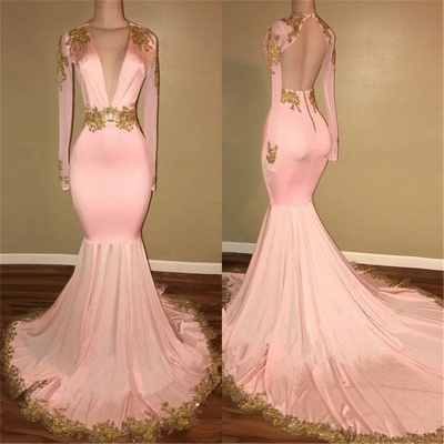 Sexy Deep V-neck Gold Beads Appliques Prom Dress  Mermaid Long Sleeve Backless Evening Gown BA7606_1