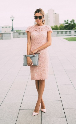Lace Blush Pink Formal Dresses  Knee Length Wedding Party Dress_1