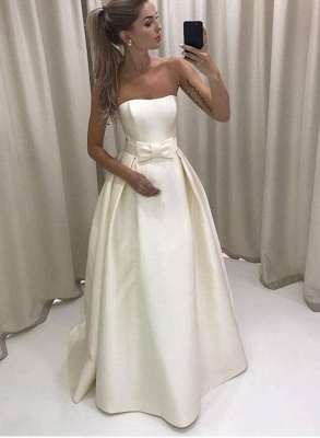 Strapless A-line Elegant Wedding Dresses  New Arrival Sleeveless Bridal Gowns with Bowknot_1