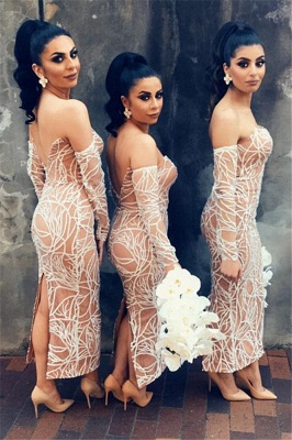 Nude Lining Sexy Bridesmaid Dresses  | Long Sleeve Back Slit Strapless Wedding Party Dresses_3