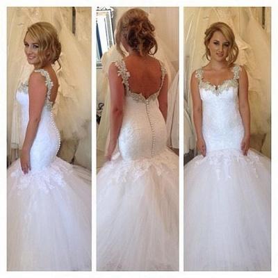 Exquisite Lace Appliques Wedding Dresses Open Back Mermaid Bridal Gowns_3