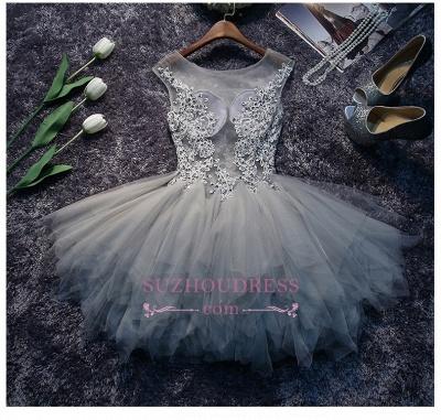 Lace-Appliques Short Puffy Sleeveless Illusion Cute Homecoming Dress BA7133_4