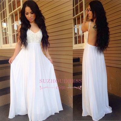 White Backless  Ball Dress Lace Spaghetti-Strap A-line Chiffon Newest Prom Dress_1