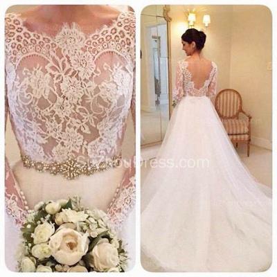 Formal White Lace Long Sleeve Bridal Gown Elegant Crystal Court Train Wedding Dress_2