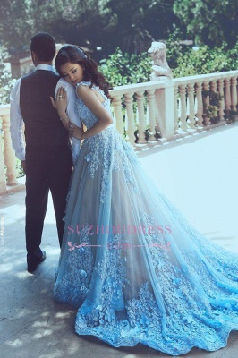 Blue A-line 3D-Floral Appliques Luxury Sleeveless Prom Dresses BA4715_3