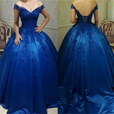 Off The Shoulder Royal Blue Evening Dresses  | Beads Lace Puffy Sexy Formal Dress_4