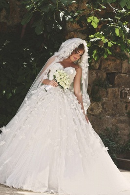 Vintage Sweetheart Tulle Ball Gown Wedding Dress with Flowers Lace Custom Made  Bridal Gowns_1