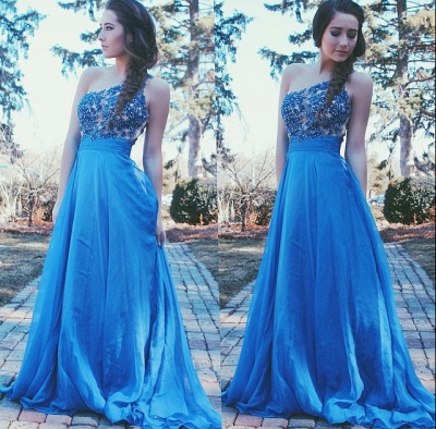 Cute One Shoulder Lace Blue Prom Dress with Beadings New Arrival Empire Chiffon Long Dresses_2