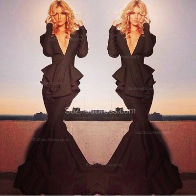 Black Winter Evening Dresses  Long Sleeve V Neck Tiered Draped  Memaid Sweep Train Black Evening Gowns_1