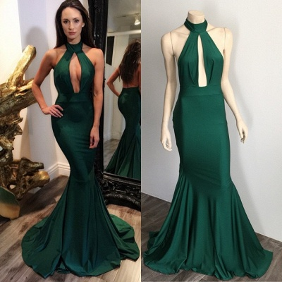 Dark Green Halter Key Hole Evening Dresses Backless  Mermaid Prom Gowns CE0028_3
