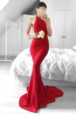 Halter Sheath Red Lace Evening Dress  Backless Mermaid Sexy  Prom Gown_1