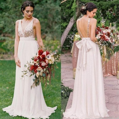 Open Back Bridesmaid Dresses   | V-neck Sequins Chiffon Maid of Honor Dress Sexy_3