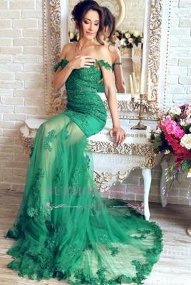 Appliques Green Evening Dress Mermaid Sheer Skirt Gorgeous  Off-the-Shoulder Prom Dress_4