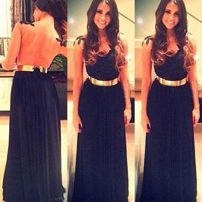 Black Sash V-Neck  Prom Gowns Sleeveless Floor Length Backless Evening Dresses CJ0072_2