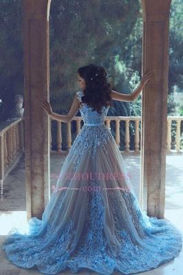 Blue A-line 3D-Floral Appliques Luxury Sleeveless Prom Dresses BA4715_1