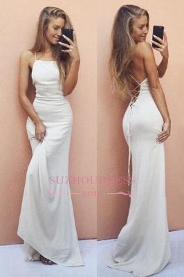 White Backless Sleeveless Formal Dress  Sexy Mermaid Spaghetti Strap  Prom Dress BA6016_3