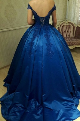 Off The Shoulder Royal Blue Evening Dresses  | Beads Lace Puffy Sexy Formal Dress_3