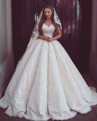 Elegant Lace Straps Wedding Dresses | Puffy Sleeveless Bridal Ball Gowns_1