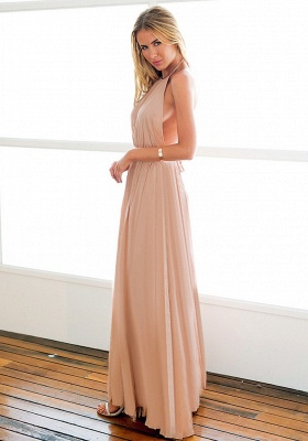 Halter Chiffon Open Back Summer Dress New Arrival Sleeveless Split Long Beach Dresses_4