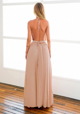 Halter Chiffon Open Back Summer Dress New Arrival Sleeveless Split Long Beach Dresses_3