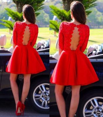 Elegant Lace Red Half Sleeve Short Homecoming Dress New Arrival Halter Mini Cocktail Dress_3