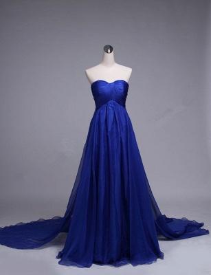 Royal Blue Sweetheart Long Evening Dresses Chiffon Court Train Elegant Formal Dresses_2