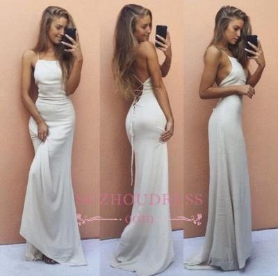 White Backless Sleeveless Formal Dress  Sexy Mermaid Spaghetti Strap  Prom Dress BA6016_1