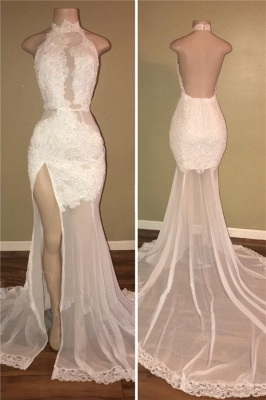 High Neck Sexy Side Slit Lace Prom Dresses Backless Sheer Tulle  Evening Gown BA8228_1