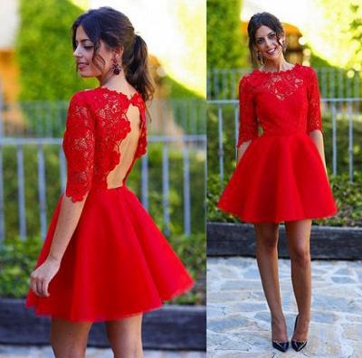 Elegant Lace Red Half Sleeve Short Homecoming Dress New Arrival Halter Mini Cocktail Dress_2