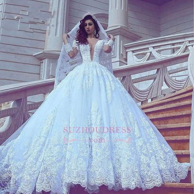 Modest Lace Long-Sleeve Court-Train Ball-Gown V-neck Wedding Dress_1