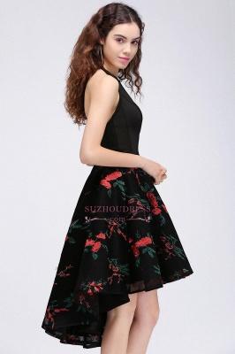 Halter Sleeveless Backless Modern A-line Flowers Homecoming Dress_2