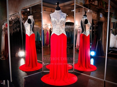 Sweep-Train Sleeveless High-Neck Newest Red Crystals Evening Dress_1