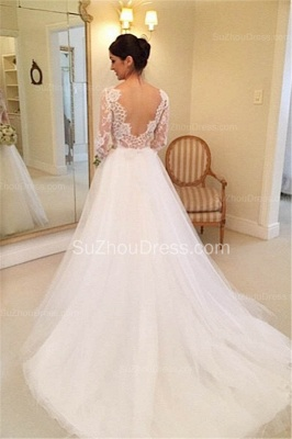 Formal White Lace Long Sleeve Bridal Gown Elegant Crystal Court Train Wedding Dress_3