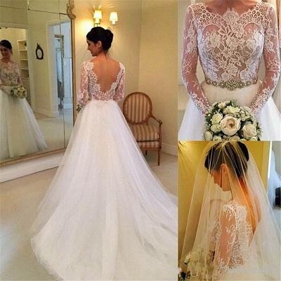 Formal White Lace Long Sleeve Bridal Gown Elegant Crystal Court Train Wedding Dress_4