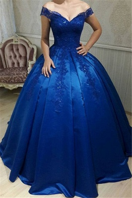 Off The Shoulder Royal Blue Evening Dresses  | Beads Lace Puffy Sexy Formal Dress_1